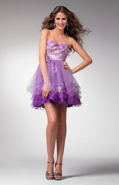 Clarisse prom dresses 1561 purple short formal dress with tiered short purple flower prom dresse 1561 mightylinksfo