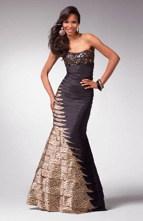 Clarisse prom dresses 1563 - Black and leopard band aid formal ...