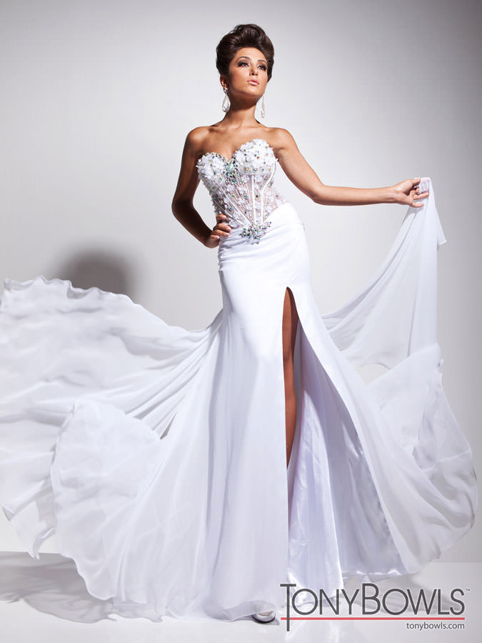 Tony Bowls 2013 White Strapless Sweetheart Corset Beaded Long Prom ...
