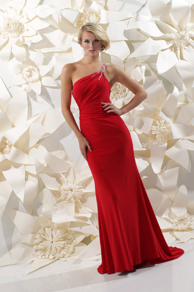 Sparkle 2013 Red One Shoulder Beaded Open Back Prom Dress 71232 ...
