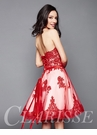 Red and White Lace Homecoming Dress 3367