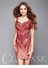 Red Embroidered Short Formal Dress 3323