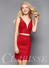 Red Fitted Lace Two Piece Homecoming Dress 3381