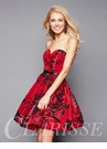 Red Floral Print Homecoming Dress 3313