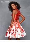 Red Floral Two Piece Homecoming Dress 3644