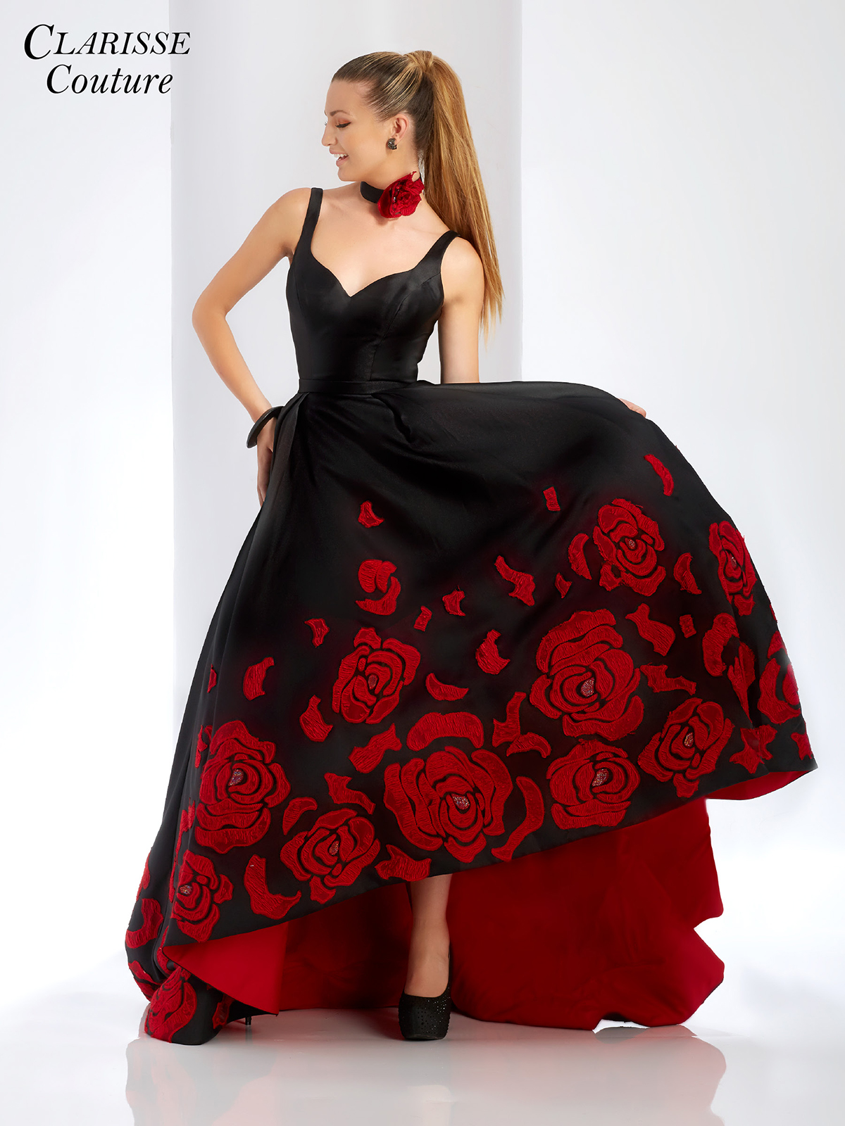 2018 prom dress clarisse 4943 promgirl red rose high low evening gown 4943 ombrellifo Choice Image