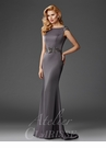 Satin Cap Sleeve Evening Gown M6447