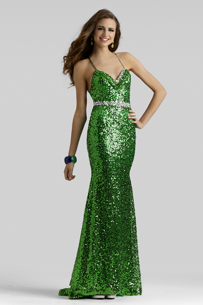 Clarisse 2014 Emerald and Sapphire Spaghetti Strap Sequin Fit and ...