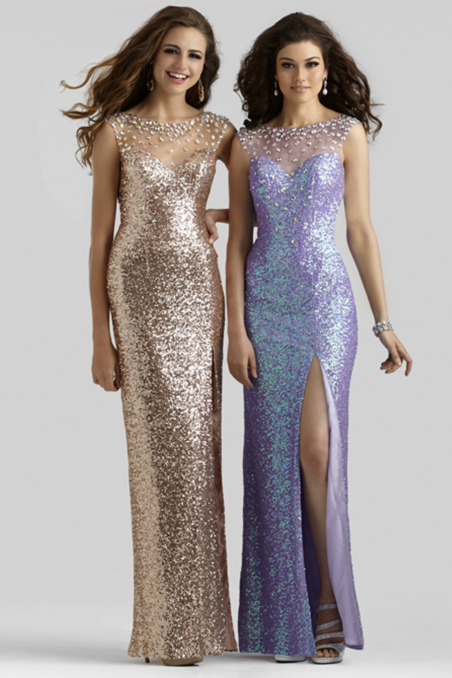 Clarisse 2014 Rose Gold and Princess Purple Sequin Sheer Back High ...