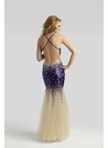 Sheer Purple Sequin Prom Gown 2365