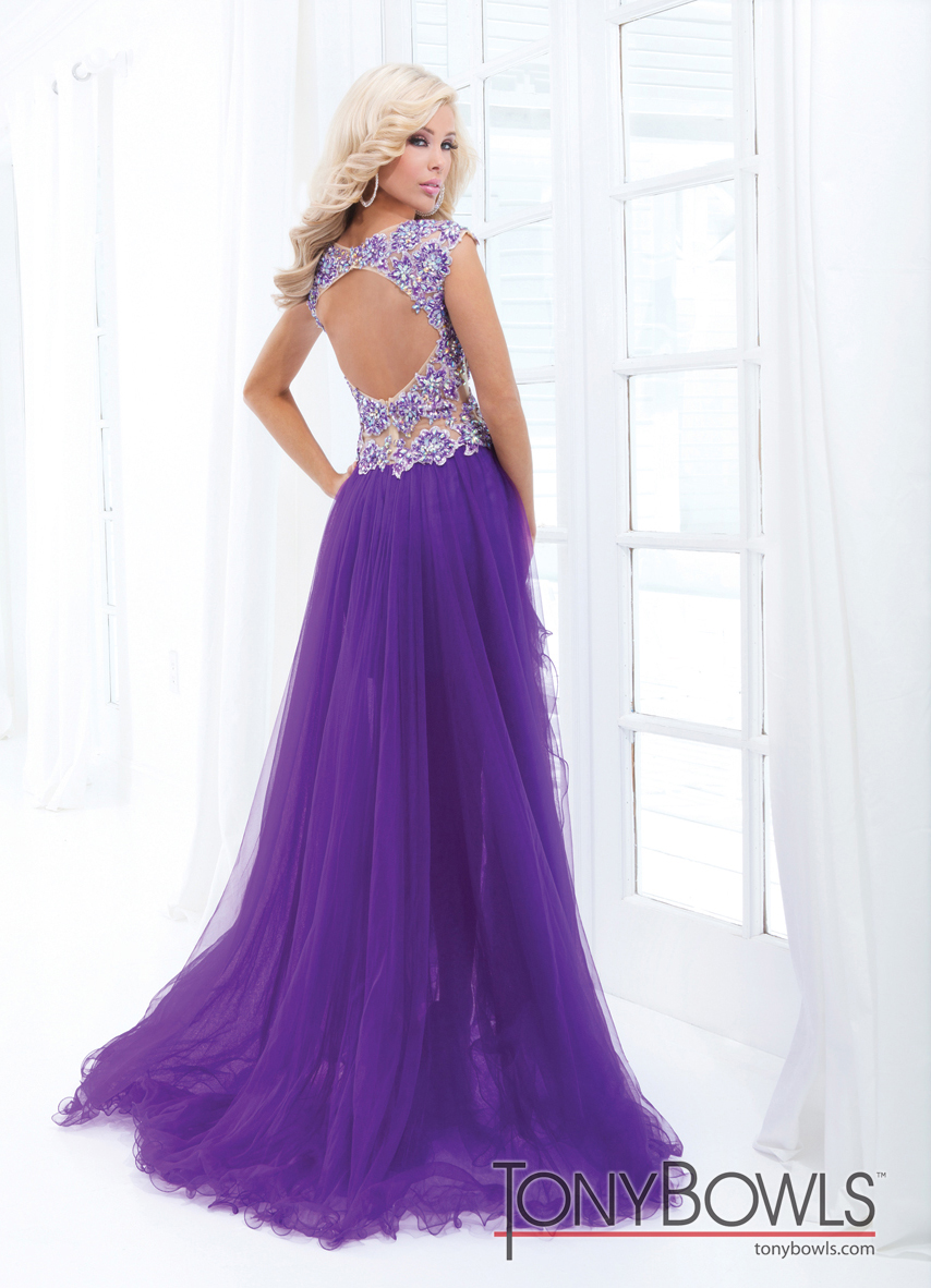 Tony Bowls 2014 Red Pink Purple Turquoise Blue Nude High Low Sheer ...