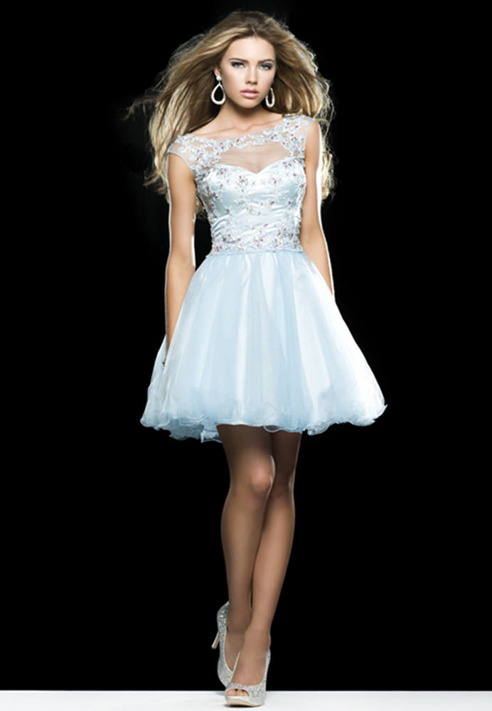 Clarisse 2014 Sky Blue Lace Tulle Cap Sleeve Sheer High Neck Baby ...