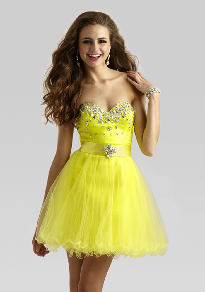 0ce8caf3110 Clarisse 2014 Bright Yellow Strapless Sweetheart Sequin Dress with a Tulle  Detachable Skirt 2337