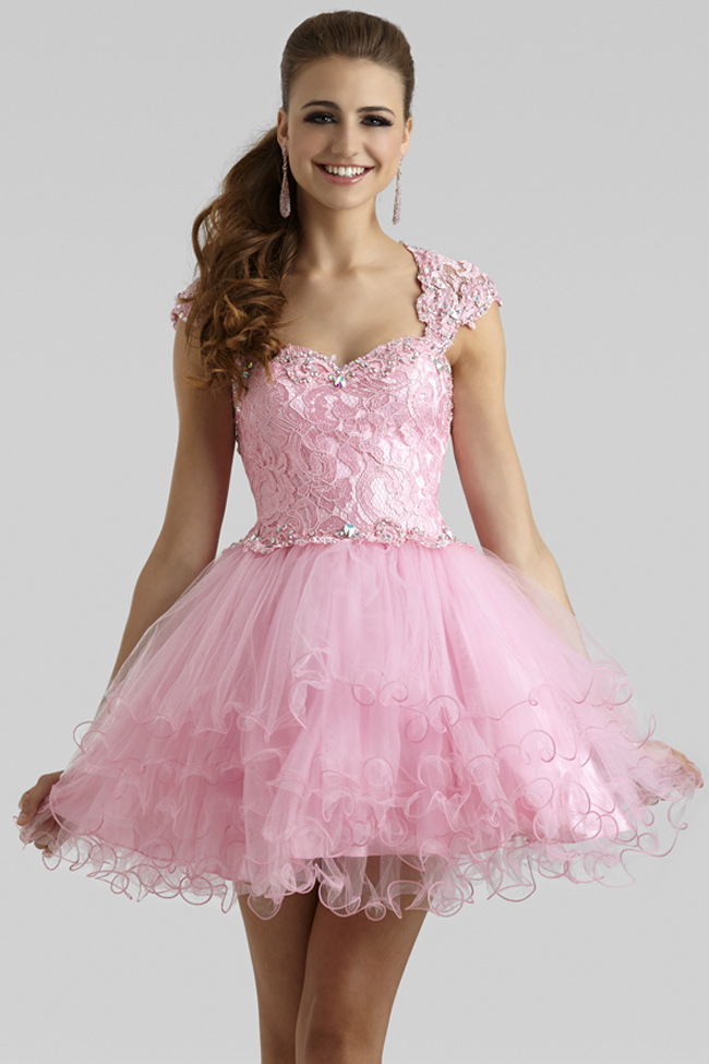 Clarisse 2014 Princess Pink Lace and Tulle Short Cap Sleeve Baby ...