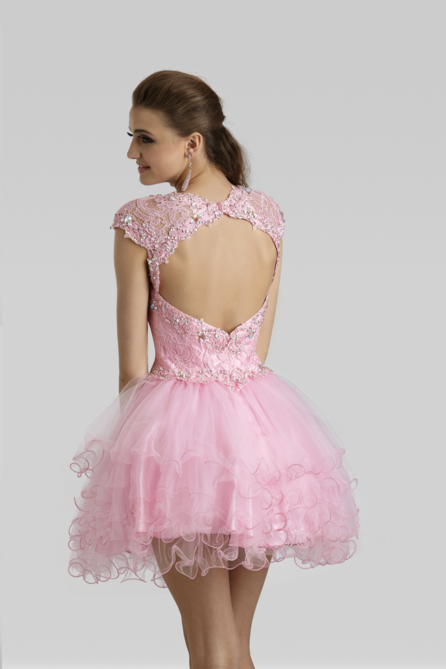 Clarisse 2014 Princess Pink Lace And Tulle Short Cap