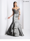 Silver Taffeta Mermaid Evening Gown 3476