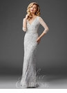 Silver V Neck Beaded Evening Gown M6428
