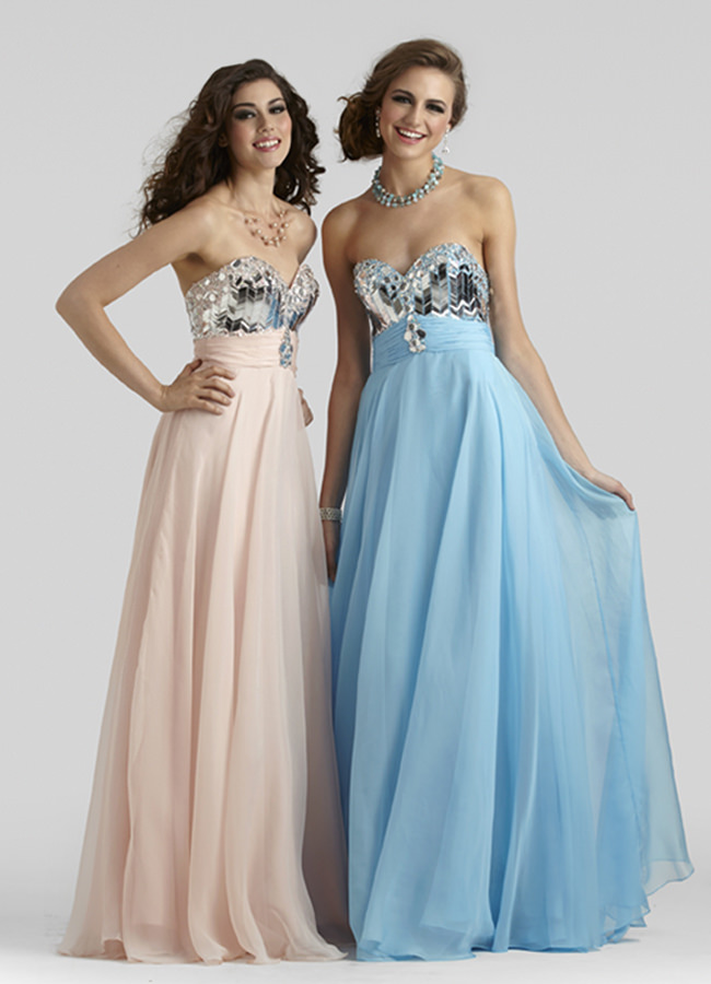 Clarisse 2014 blush and ice blue sweetheart strapless a for Costume jewelry for evening gowns