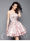 Strapless Short Formal Brocade Dress 3310