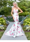 Strapless White Print Mermaid Prom Dress 3424