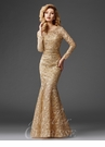 Stunning Gold Lace Mermaid Evening Gown M6426