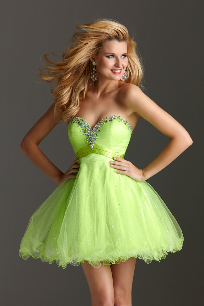 Clarisse 2013 Lime Green Short Strapless Sweetheart Tulle Baby Doll