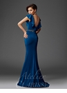 Teal Ruffle Sleeve Evening Gown M6440