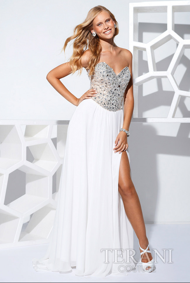9992c6f079 Terani 2013 White Strapless Beaded Long prom Gown 1529 | Promgirl.net