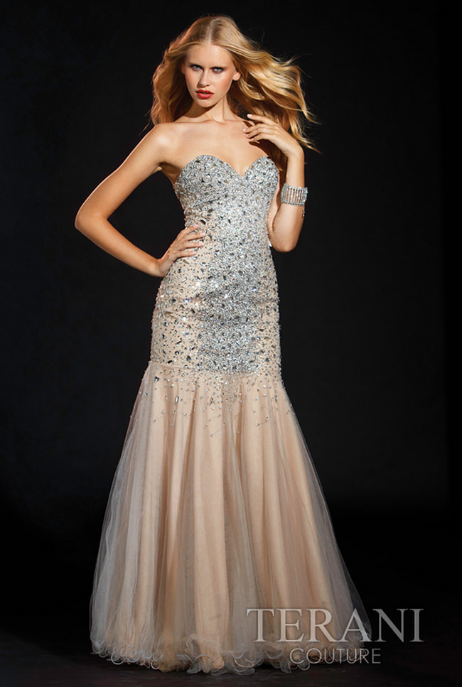 Terani Strapless Mermaid Prom Dress 1575