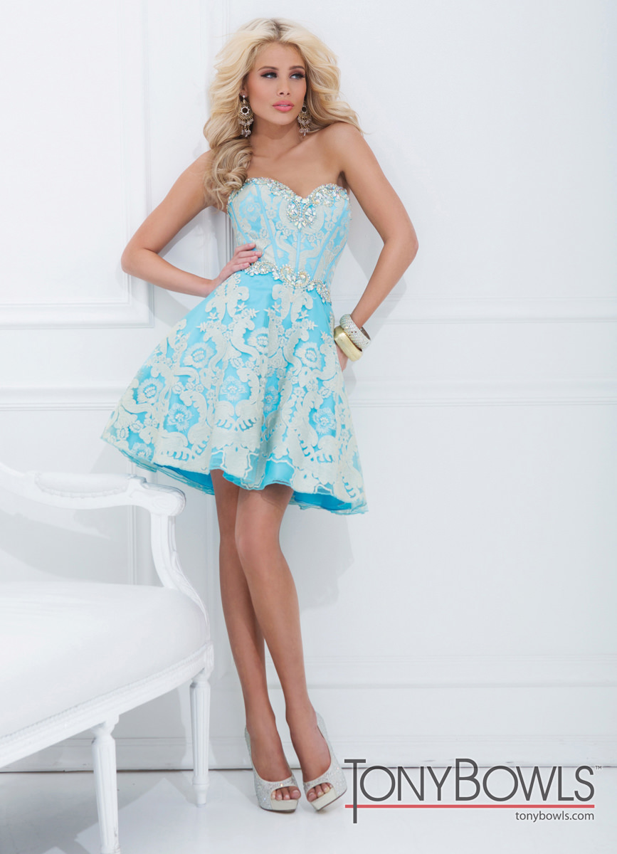 Tony Bowls 2014 Turquoise Gold Baby Doll Sweetheart Prom Dress 11480 ...