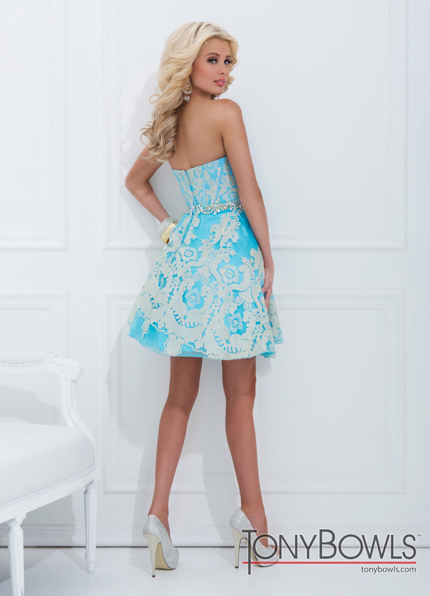 Tony Bowls 2014 Turquoise Gold Baby Doll Sweetheart Prom Dress ...