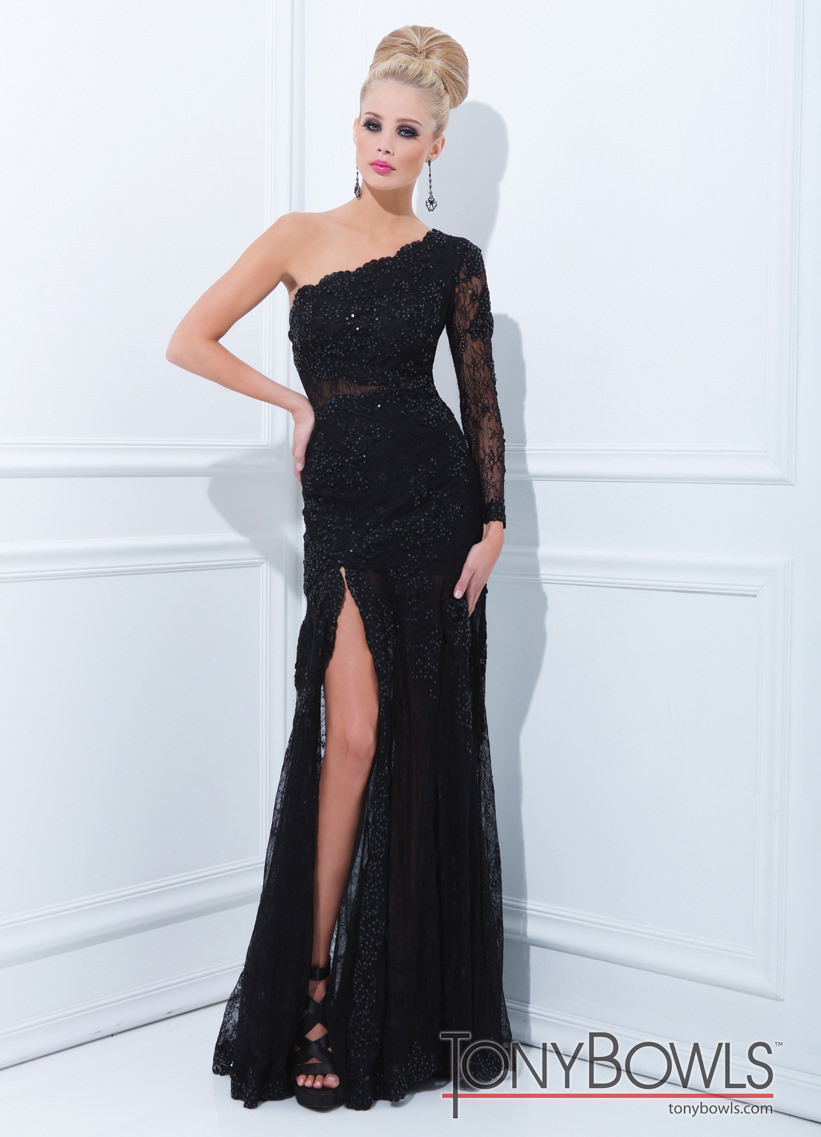 b07b45b839f4 Tony Bowls 2014 Black Lace One Shoulder Long Sleeve Sheer Beaded Gown 11456  | Promgirl.net