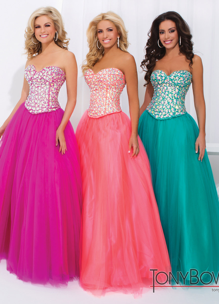 Tony Bowls 2014 Emerald Green Fuchsia Coral Pink Ball Gown 114708 ...