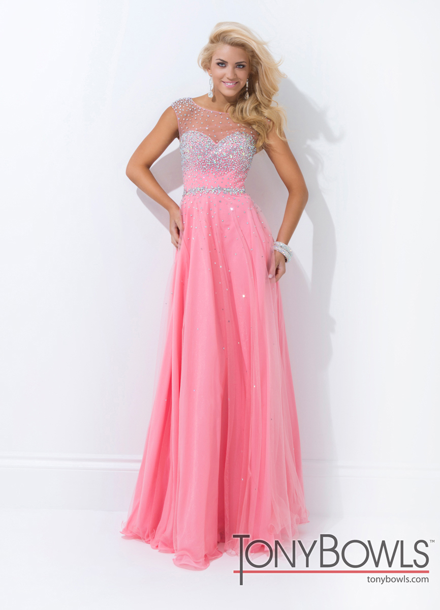 Tony Bowls 2014 Coral Pink Blue Sheer Beaded Sweetheart A-Line Gown ...