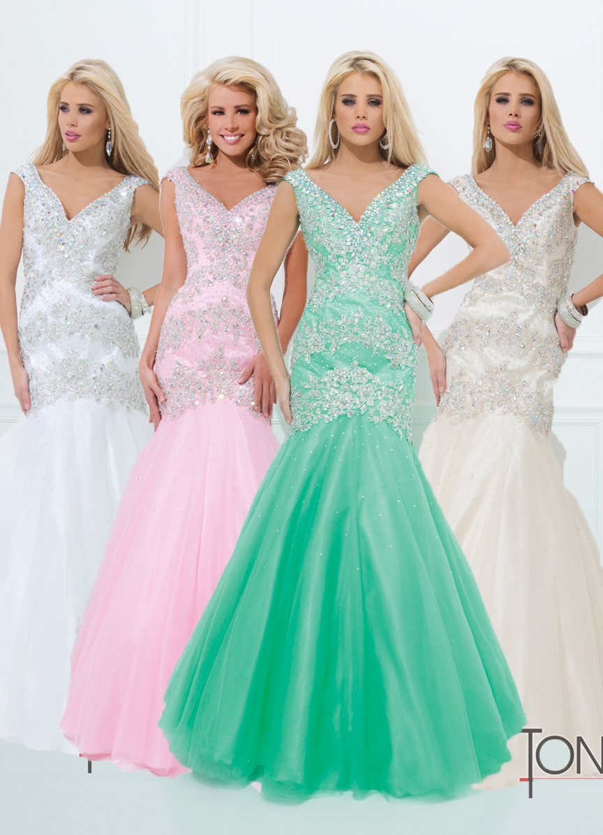 Tony Bowls 2014 Pink Light Champagne White Mint Beaded Mermaid ...
