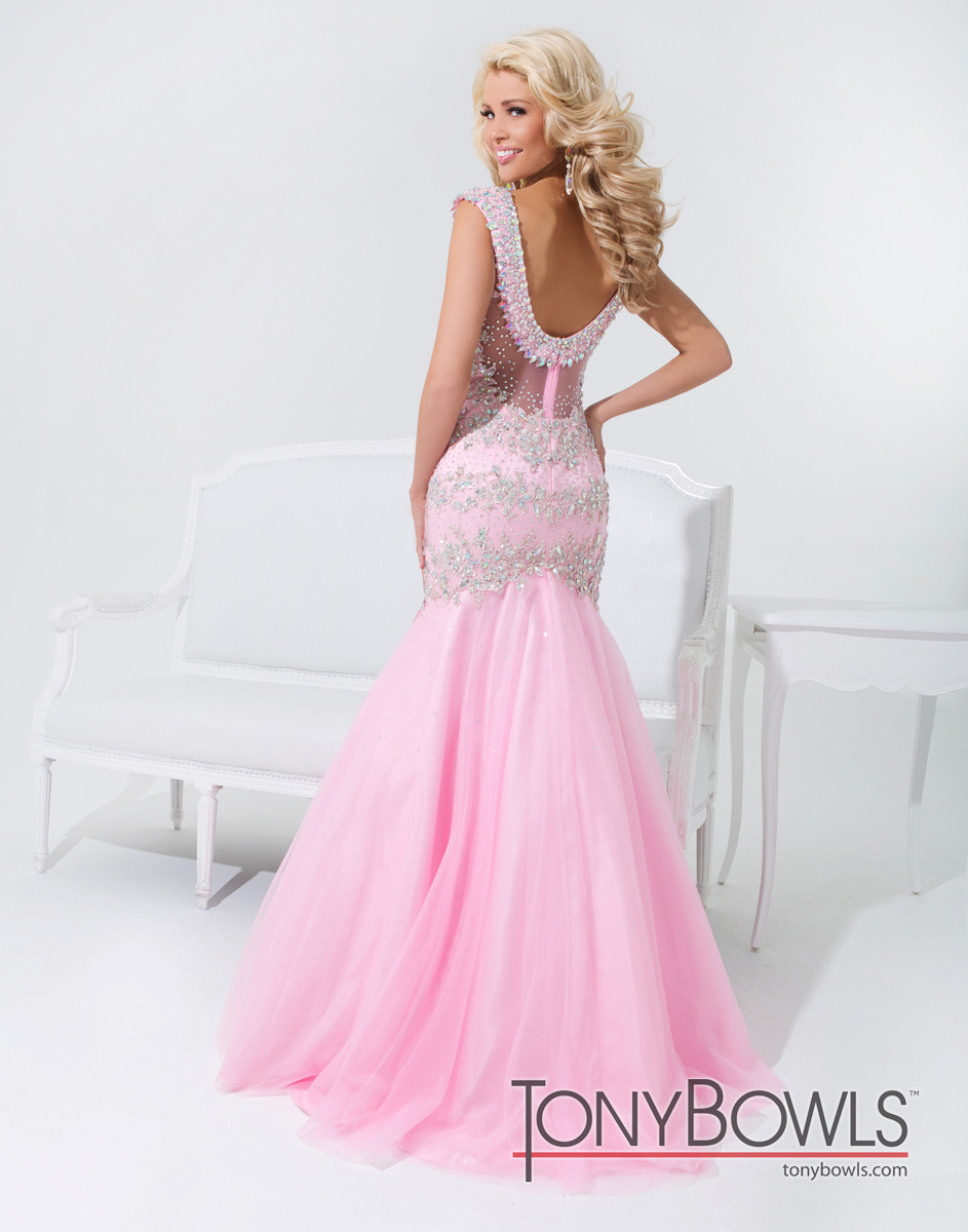 Tony Bowls 2014 Pink Light Champagne White Mint Beaded Mermaid Prom ...