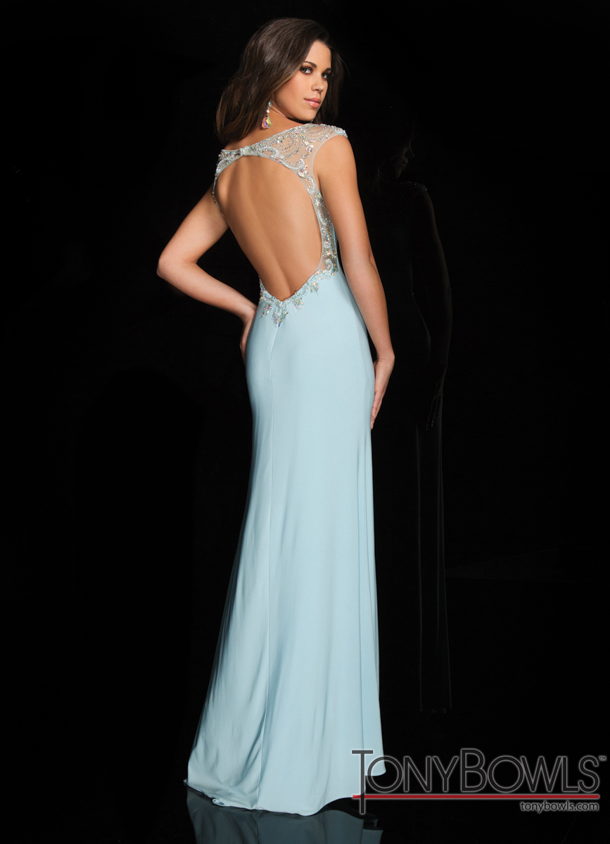 Tony Bowls 2014 Light Blue High Neck Beaded Open Back Prom Gown ...