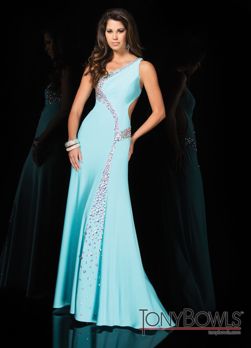 Tony Bowls 2014 Light Blue Beaded One Shoulder Gown 114517 ...
