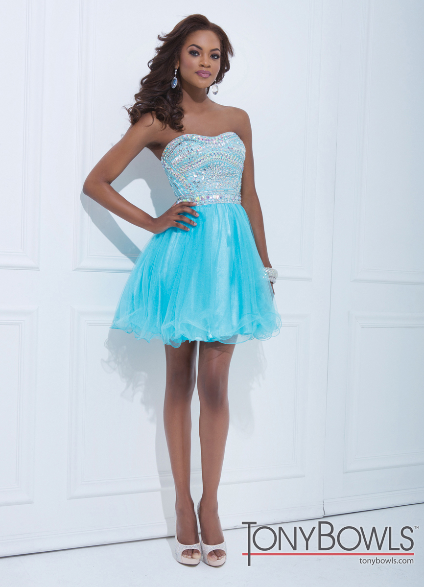 Tony Bowls 2014 White Pink Blue Strapless Beaded Tulle Baby Doll ...