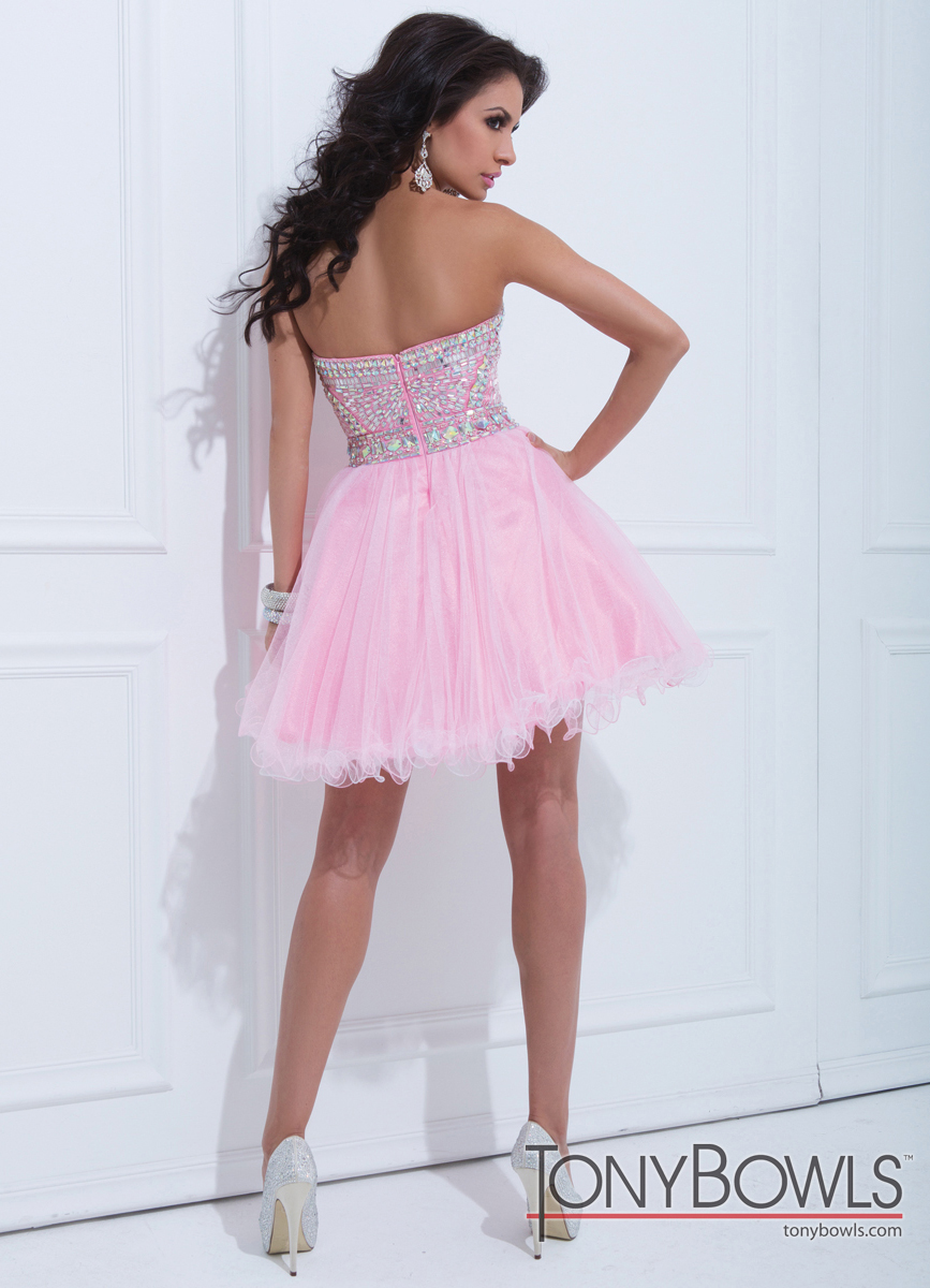 Pink and Blue Short Prom Dresses