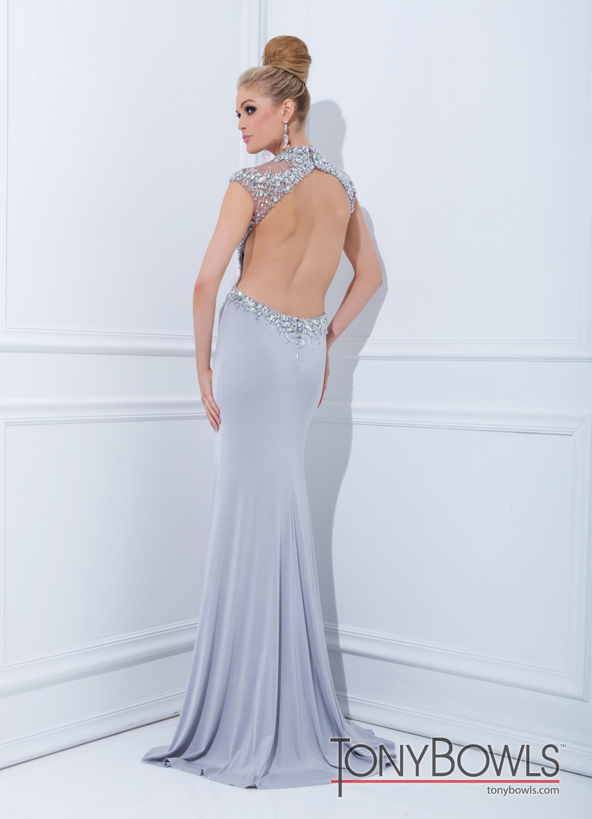 Tony Bowls 2014 Silver Open Back Beaded High Neck Prom Gown 114700 ...