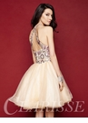 Two Piece Champagne Lace Homecoming Dress 3363