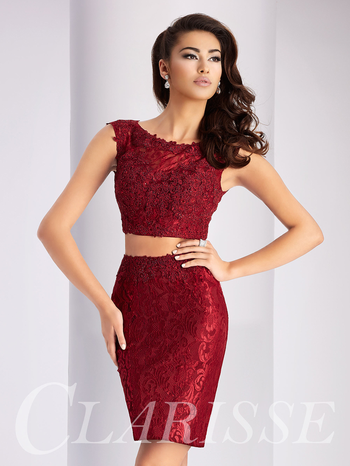 7766a0997e8 Two Piece Lace Homecoming Dress S2716