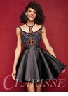 Unique Black Beaded Homecoming Dress 3360