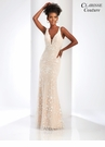 V-neck Ivory and Champagne Evening Gown 4905