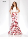 White and Rose Print Two Piece Prom Dress 3422