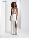 White Two Piece Floral Lace Prom dress 3536