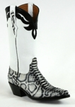 Ladies Black Jack Python Snake Painted White/Black Custom Boots 627