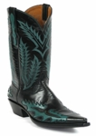 Men's Black Jack Milano Buffalo Teal Custom Boots 8635