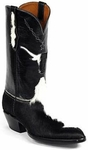Mens Black Jack Boots Black & White Hair On Calf Custom Boots 329